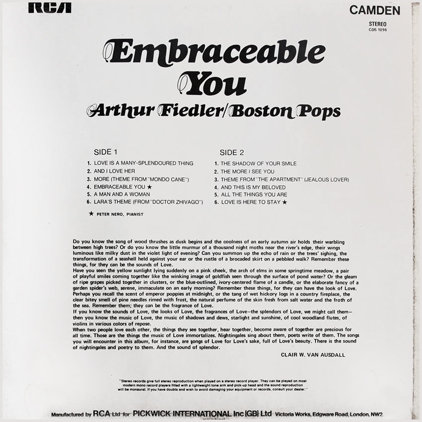 Arthur Fiedler / Boston Pops – Embraceable You