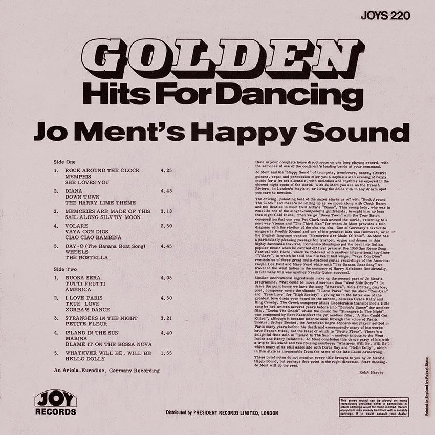 Joe Ment Happy Sound - Golden Hits For Dancing