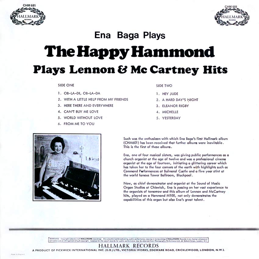 Ena Baga Plays The Happy Hammond - Plays Lennon and McCartney Hits