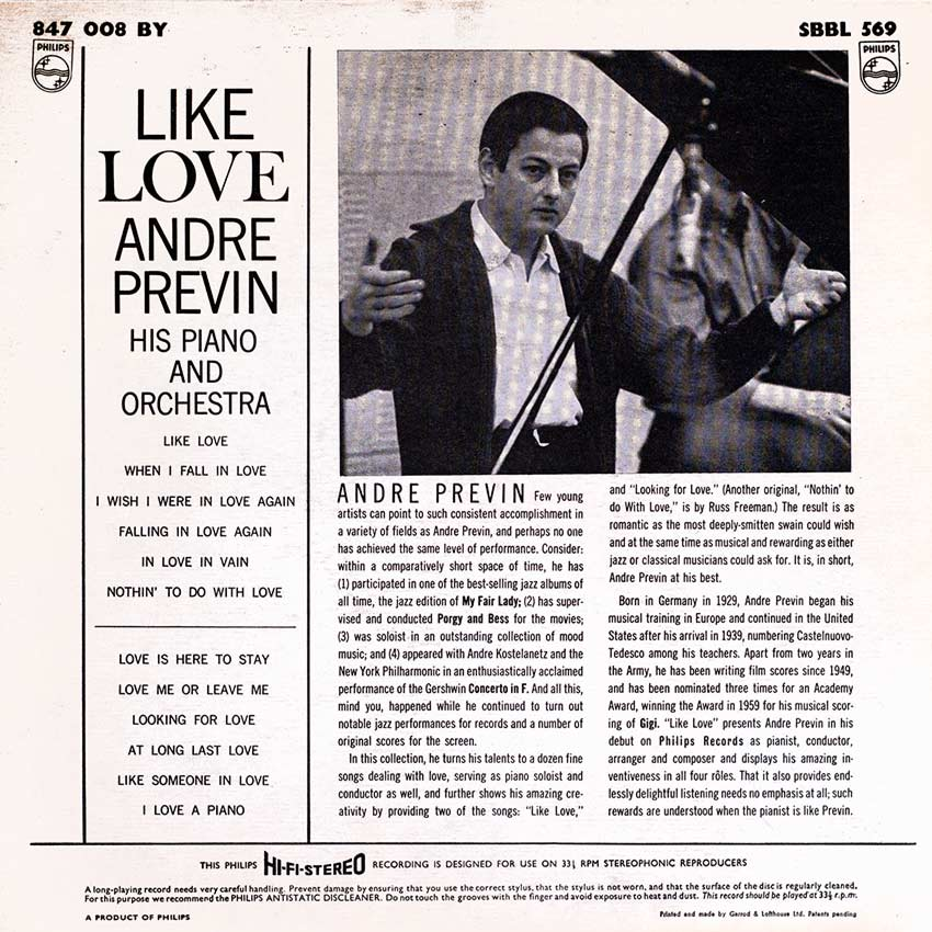 Andre Previn His Piano and Orchestra - Like Love