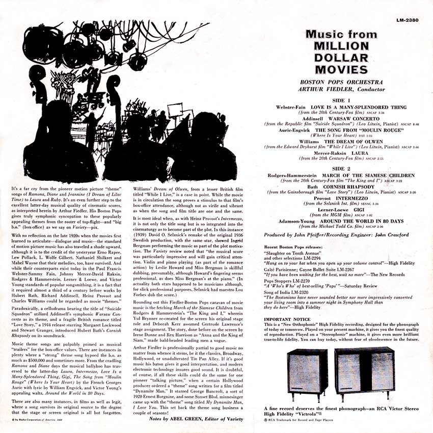 Arthur Fiedler and the Boston Pops Orchestra - Music From Million Dollar Movies