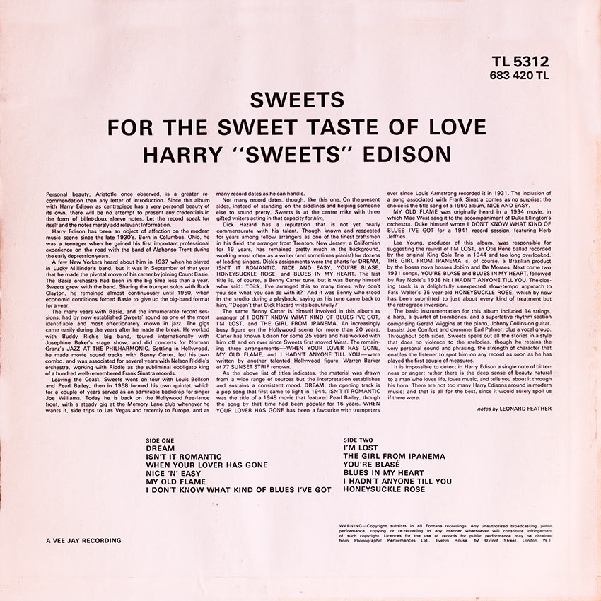 """Harry """"Sweets"""" Edison - Sweets For The Sweet Taste of Love"""