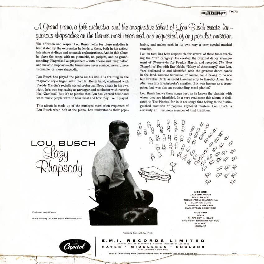 Lou Busch his piano and orchestra - Lazy Rhapsody