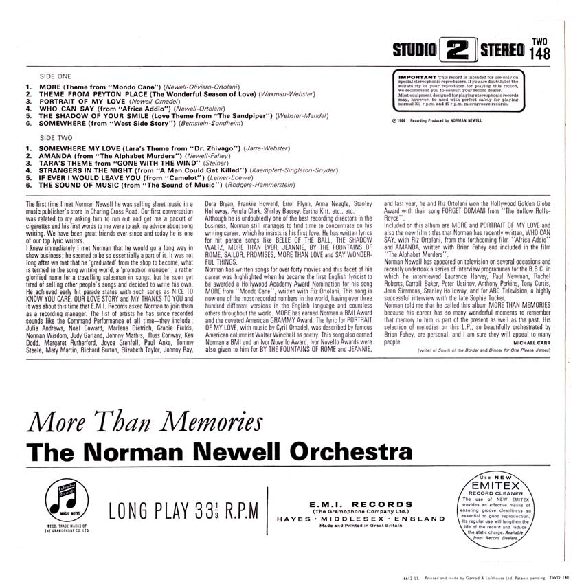 The Norman Newell Orchestra - More Than Memories