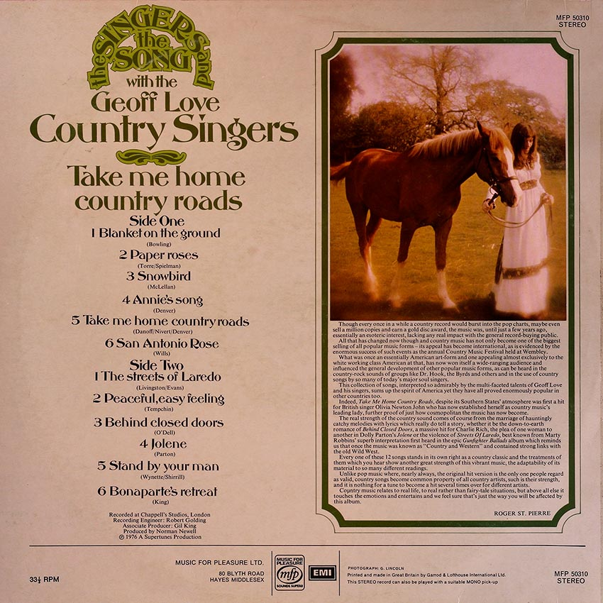 The Geoff Love Country Singers - The Singers and the Song