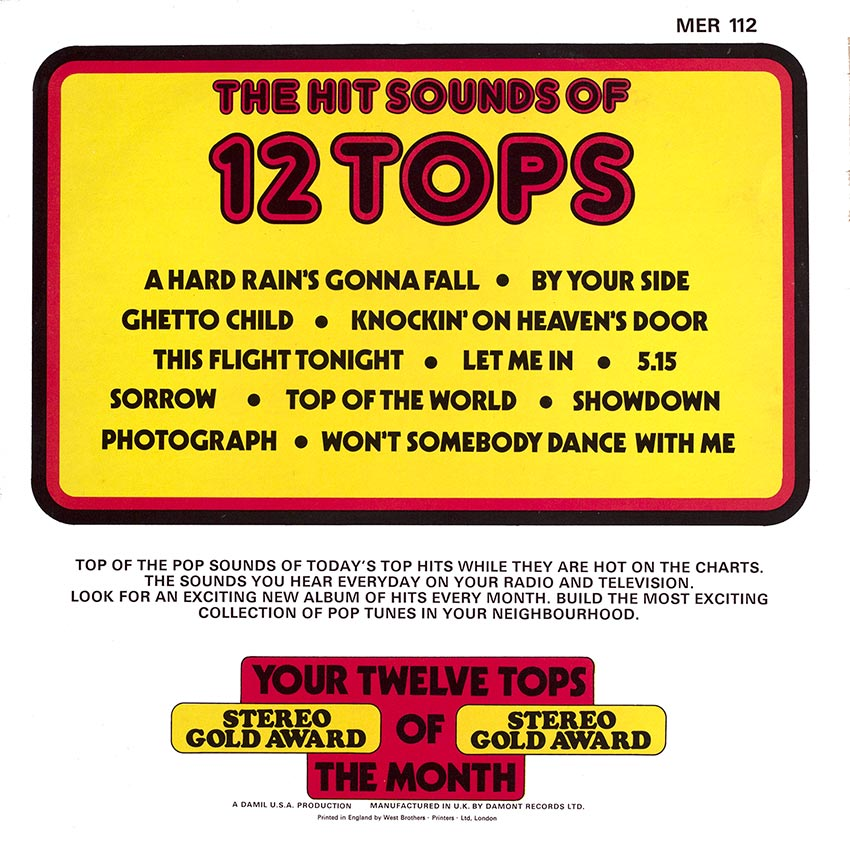 12 Tops - Today's Top Hits Vol. 16 - Top of the pops - beautiful record covers at Cover Heaven