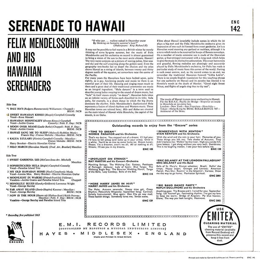 Felix Mendelssohn and his Hawaiian Serenaders - Serenade to Hawaii - Cover Heaven beautiful record covers