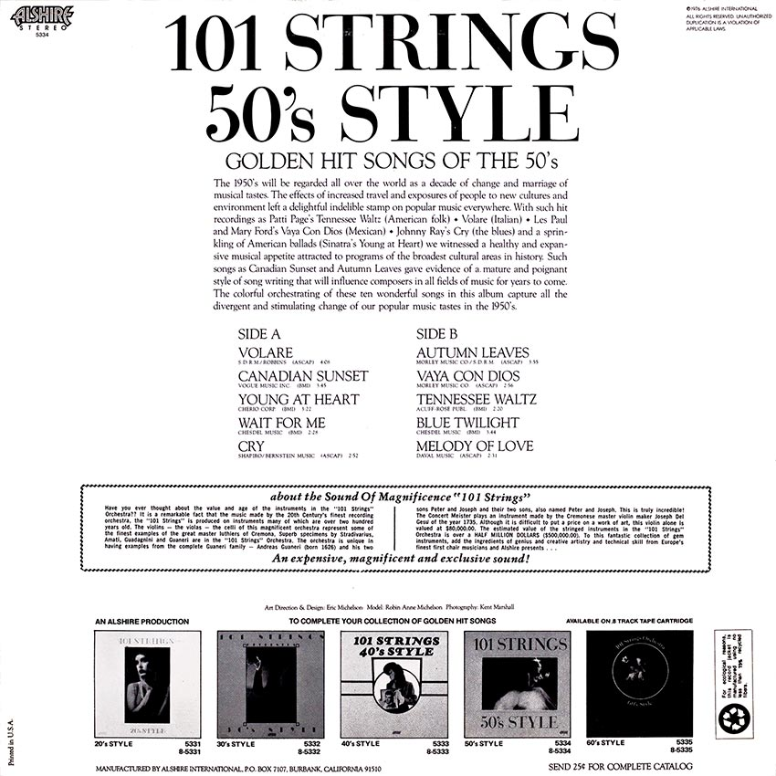 101 Strings 50's Style - Various Artists - another beautiful record cover from Cover Heaven