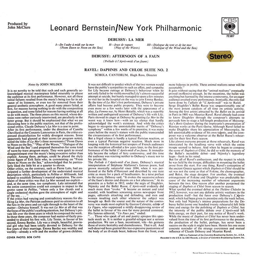 Leonard Bernstein/New York Philharmonic - Debussy La Mer Afternoon Of A Faun/Ravel Daphnis And Chloe Suite No. 2 - another splendid record over from Cover Heaven