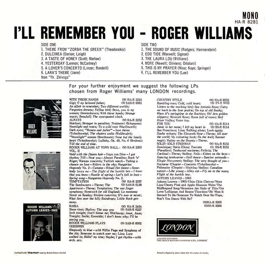 Roger Williams - I'll Remember You - a tasteful and charming record cover from Cover Heaven