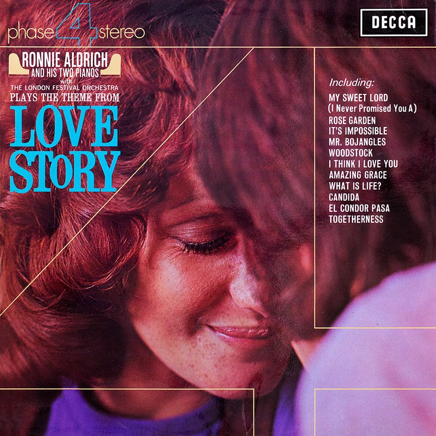 Ronnie Aldrich and His Two Pianos - Love Story - one more beautiful record cover from Cover Heaven