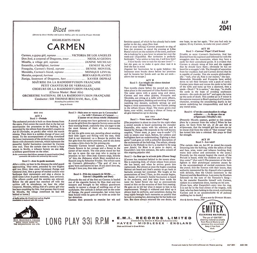 Bizet, Victoria de Los Angeles, Nicolaï Gedda, Janine Micheau, Ernest Blanc, Sir Thomas Beecham - Carmen Highlights