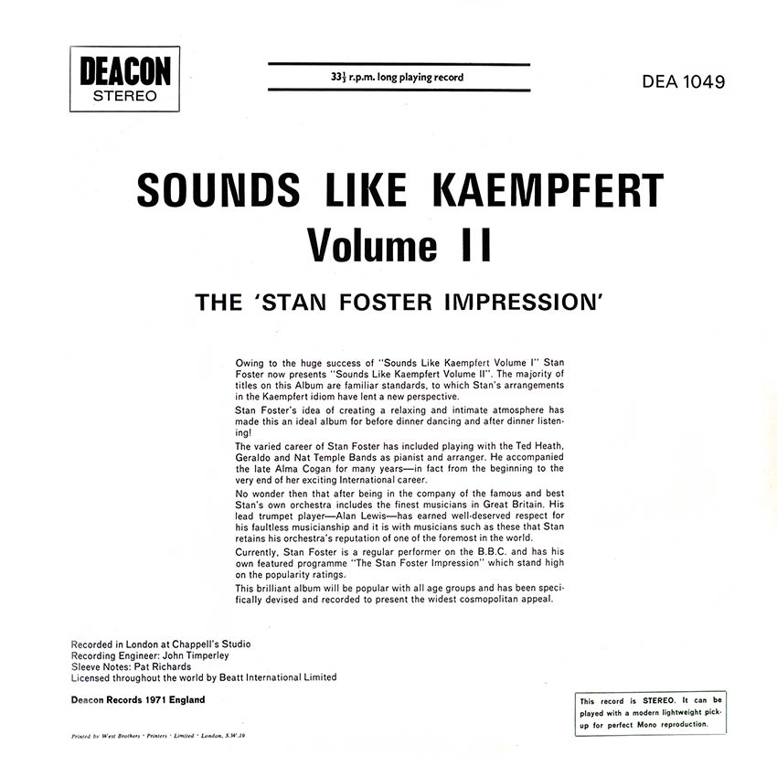 The 'Stan Foster Impression' - Sounds Like Kaempfert Volume II