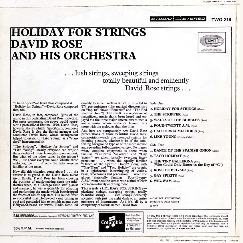 David Rose and His Orchestra – Holiday For Strings - another great record cover from Coverheaven.co.uk, this cover os from the studio2stereo collection