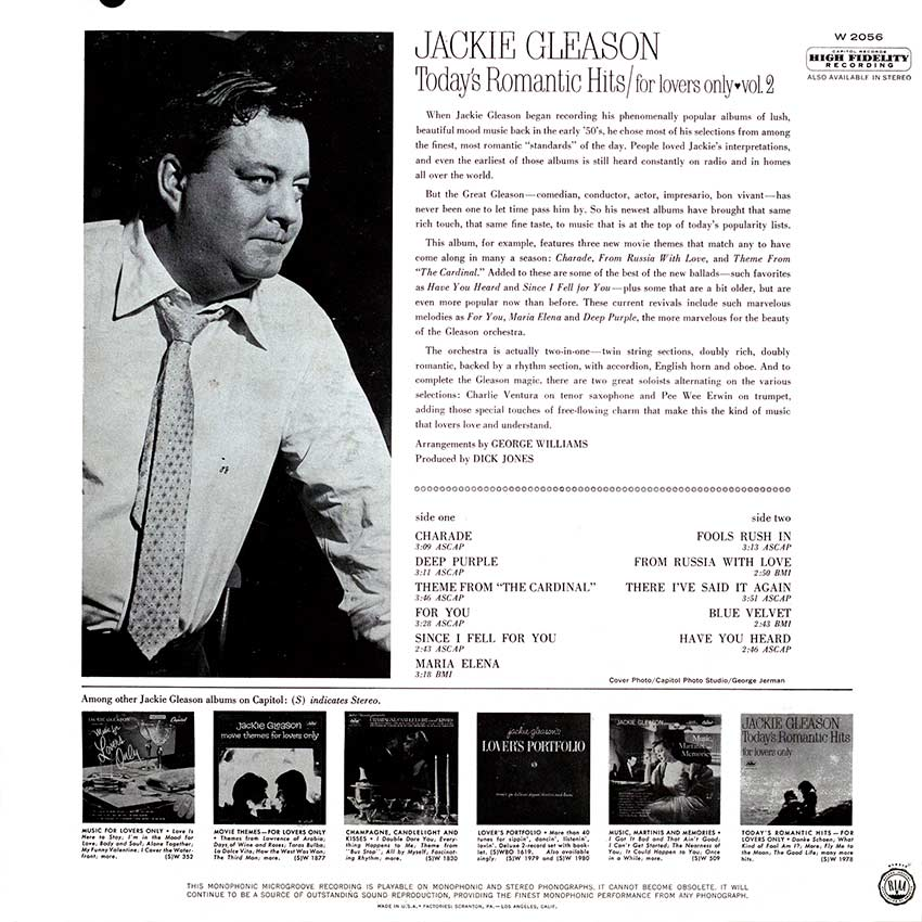Jackie Gleason - Today's Romantic Hits/for lovers only vol. 2