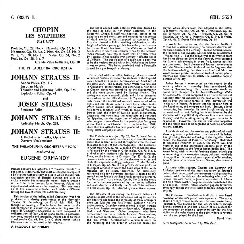 Eugene Ormandy, The Philadelphia Orchestra, Frédéric Chopin – Les Sylphides Ballet and Strauss Family Polkas and Marches