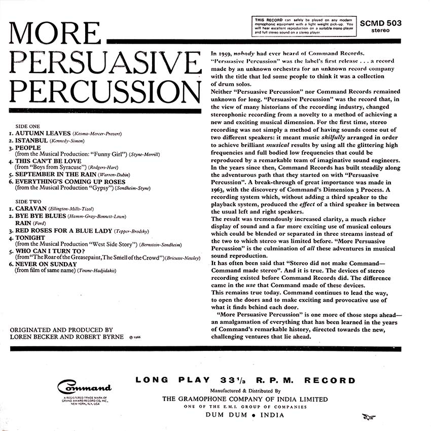 """""""More Persuasive Percussion"""" is the culmination of all these adventures in musical sound reproduction. It has often been said that """"Stereo did not make Command-Command made stereo"""""""