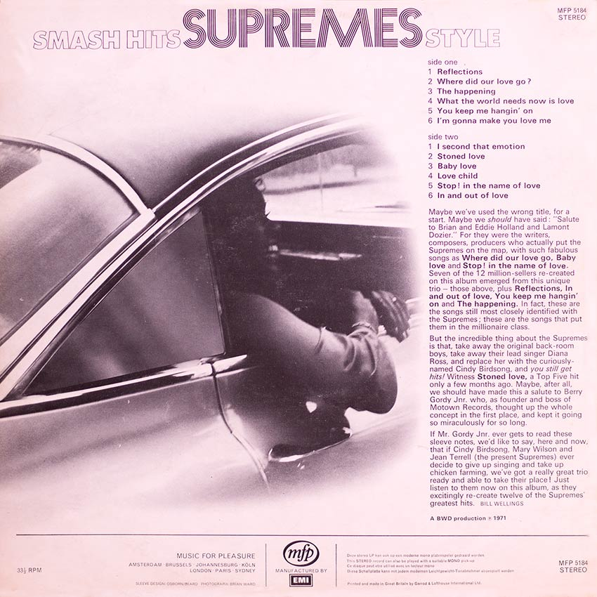 Smash Hits Supremes Style - another great sexy album cover from Cover Heaven at coverheaven.co.uk. This example is another in the sound-alike category, not the actual artist but a group of session players mimicking.
